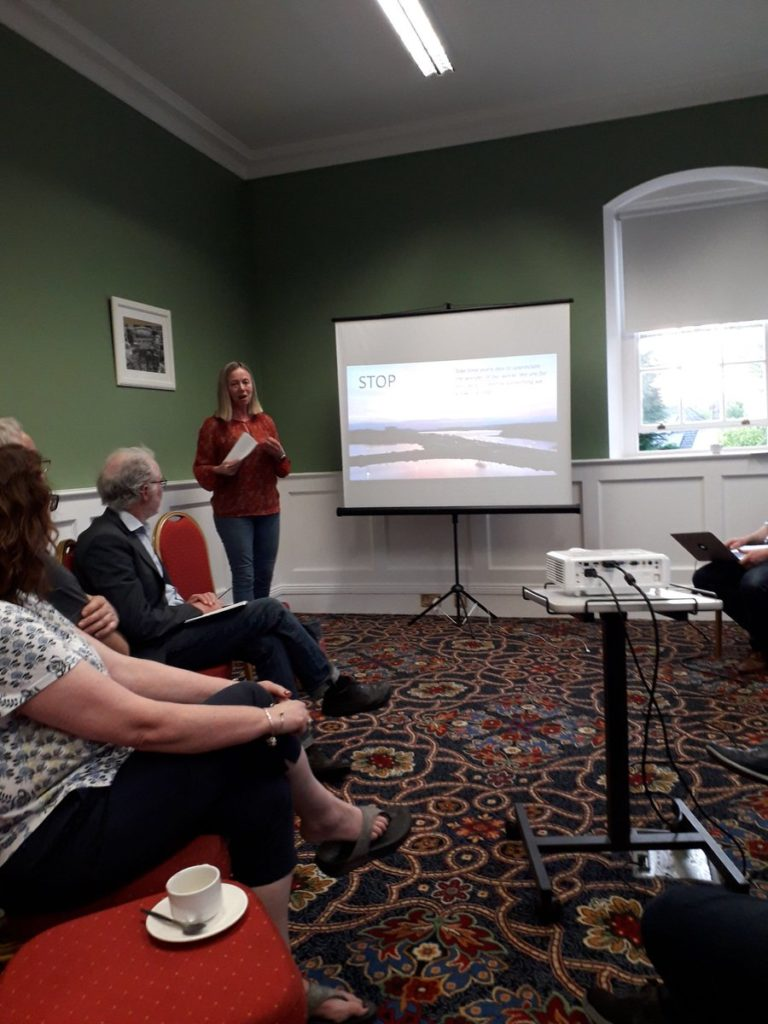 Lorna Gold speaking at Climate Change public meeting